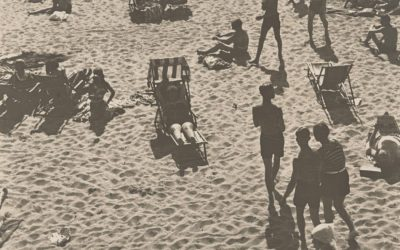 People at the beach in timeless vintage photographs
