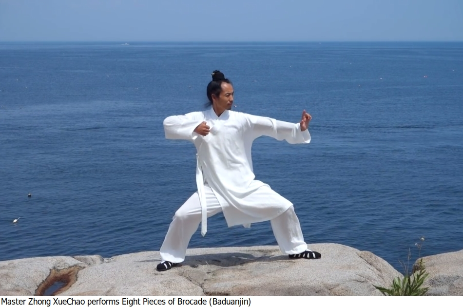 Baduanjin: A beautiful Chinese exercise (by the sea)