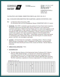US Coast Guard circular on implementation of ILO Maritime Labour Convention, 2006