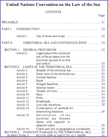 The United Nations Convention on the Law of the Sea (UNCLOS)