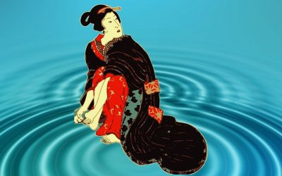 Eye-catching kimonos with sea and water motifs