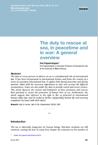 The duty to rescue at sea, in peacetime and in war: A general overview