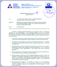 Standard Employment Contract (SEC) for Filipino seafarers, as amended in 2010